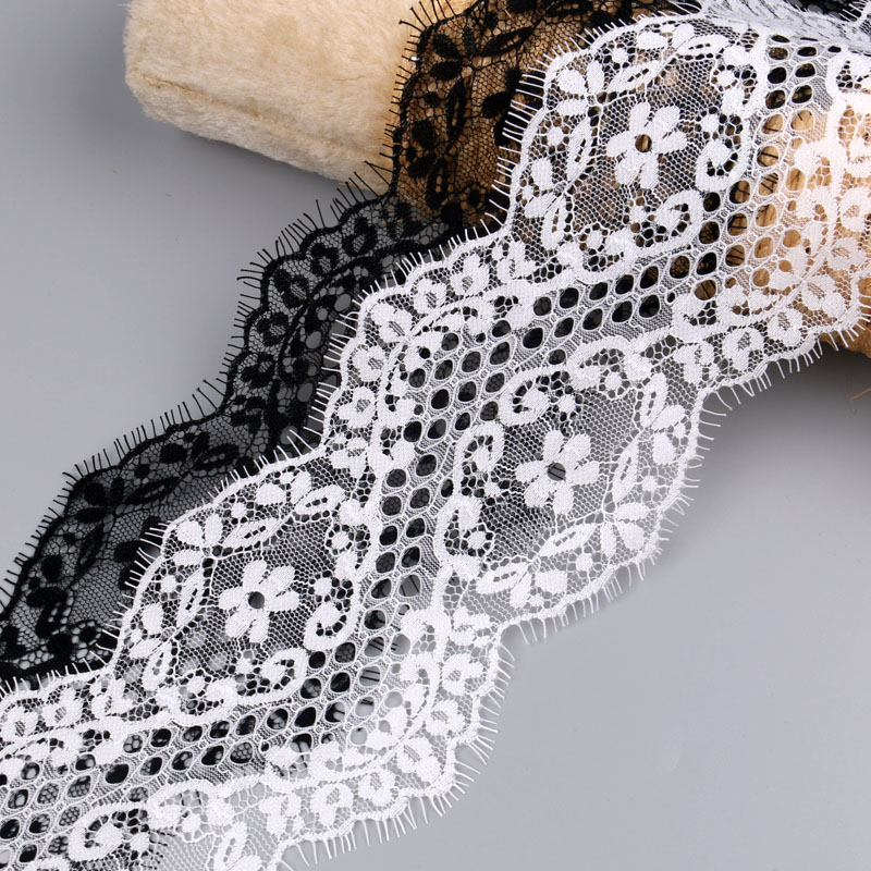 3Meters Black White Eyelash embroidered lace fabric DIY Clothing Wedding Decoration 12CM Wide Ribbon Lace Trim Sewing Applique
