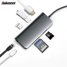 ASKMEER 7in1 HUB Adapter USB Type C to 3.0 HDMI for MacBook Pro Splitter Huawei Matebook Samsung Galaxy