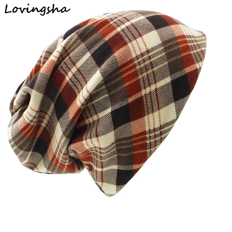 LOVINGSHA Brand Autumn Winter Dual-use Hat For Ladies thin Vintage Plaid Design Skullies And Beanies Women Scarf Face Mask HT021 ladies autumn winter felt hat vintage bowler cloche hat