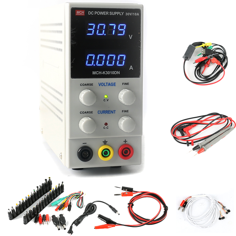K3010DN Adjustable Digital DC Power Supply 30V 10A 0.01V 0.001A Regulated Laboratory Power Supply Phone Repair Kits DC Jack Set yihua 3010d 30v 10a adjustable regulated dc power supply for computer mobile phone repair test