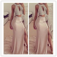Luxury Beads Long Mermaid 2 Piece Prom Dresses 2018 O Neck Crystal Side Slit Two Piece Prom Dress Pageant Gown For Women