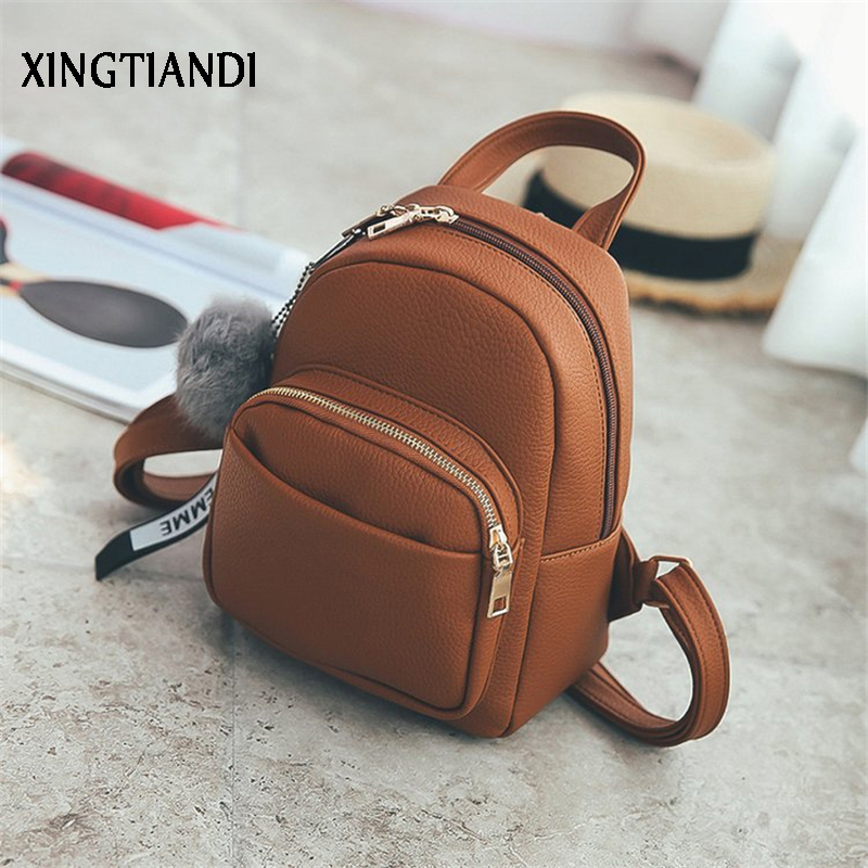 New Arrival 2018 Mini Backpacks Women PU Leather Soft Schoolbags Fashion Female Bags Schoolbags