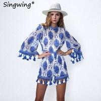 Singwing الرباط التطريز شرابة النساء داخلية حللا الصيف بوهيميا الشاطئ قصيرة الأزرق القصير اللون الإناث
