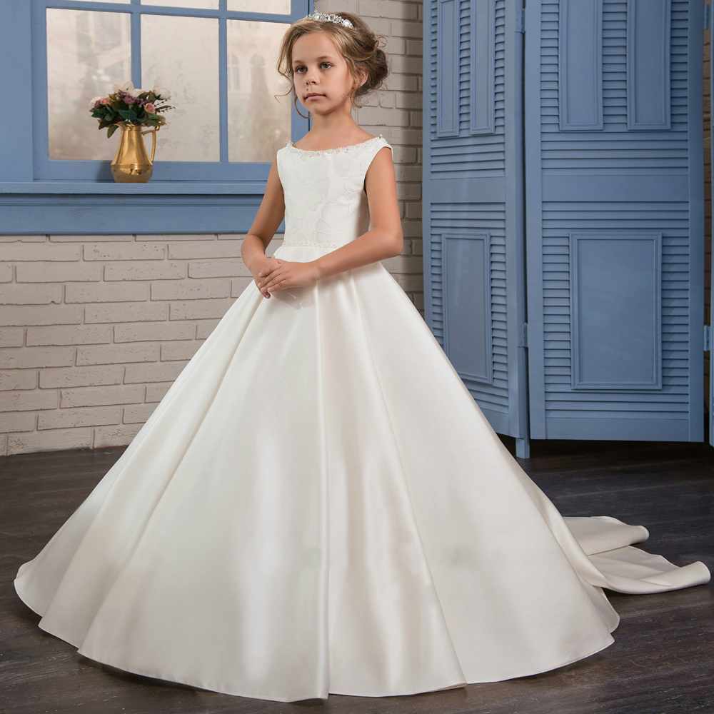 Flower Girl Dress for Wedding Girls First Communion Dress Satin Ball Gowns with Beading Sash Elegant Dresses Custom Made fancy pink little girls dress long flower girl dress kids ball gown with sash first communion dresses for girls