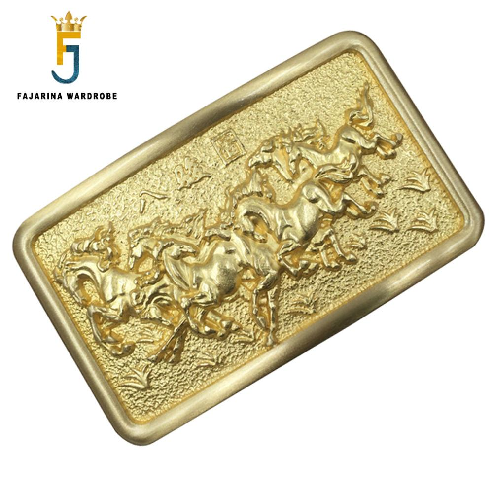 FAJARINA Euramerican Smooth Buckle Styles Exquisite Eight Horses Map   Embossed Belt Buckle   Solid Brass Buckles For Men BCK005
