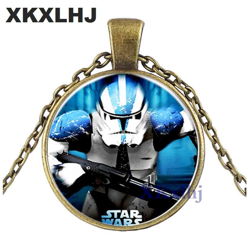 XKXLHJ Star Wars Necklace Stormtrooper Darth Vader Figure Glass Cabochon Pendant Necklace for Boys Girls Kids Toy Movies Jewelry