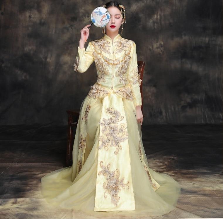 New 2018 Chinese traditional elegant clothing Summer bride wedding dress high quality cheongsam gown Fashion show yellow kimono