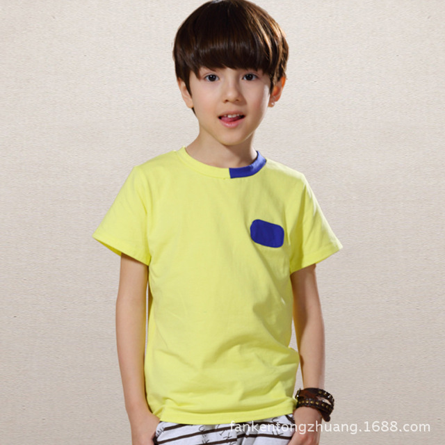 2016 new Europe and America style  t-shirts color boy short sleeved refreshing autumn wear boys tshirt