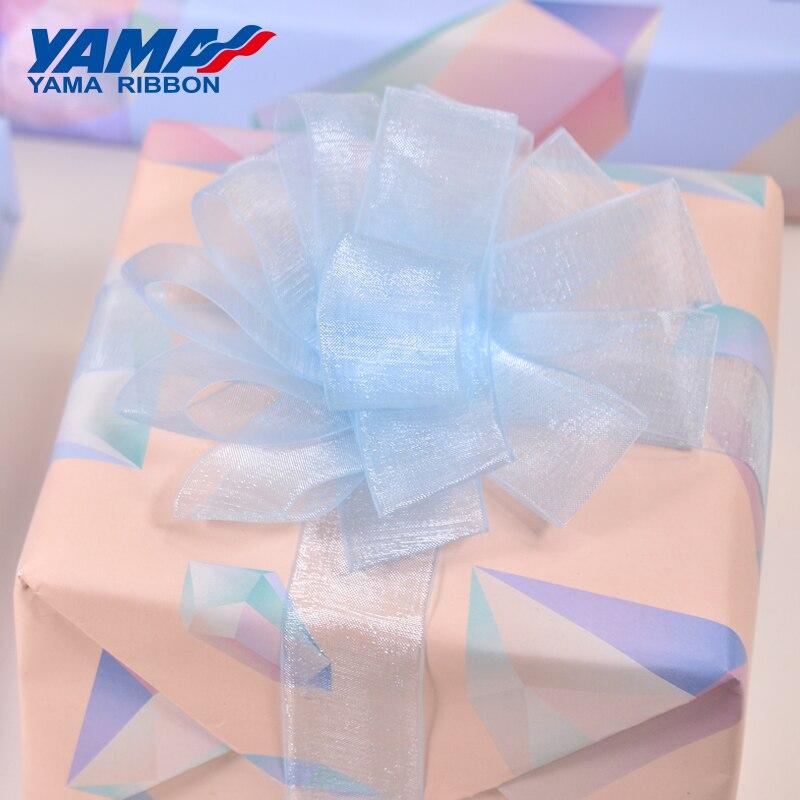 Яма Sheer Органза Шелковая Лента 200 ярдов 22 25 32 38 мм Черный Белый Красный Синий Фиолетовый