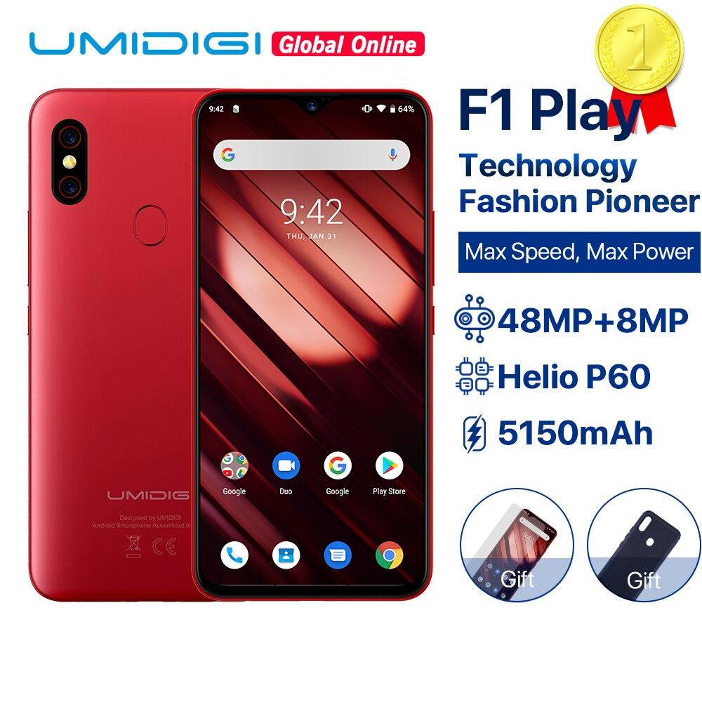 UMIDIGI F1 Jogo Android 9.0 GB de RAM GB ROM 48MP 64 6 + 8MP + 16MP Câmeras 5150mAh 6.3