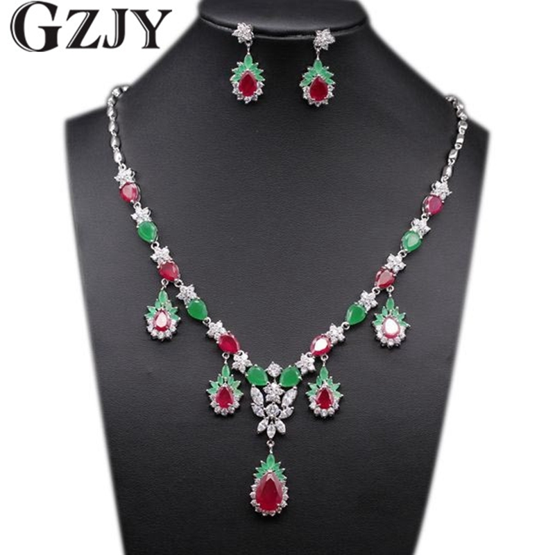 GZJY Luxury Gold Color Green&Red AAA Cubic Zirconia Necklace Earring Set For Women Wedding Party Jewelry Birthday Gift colorful cubic zirconia hoop earring fashion jewelry for women multi color stone aaa cz circle hoop earrings for party jewelry