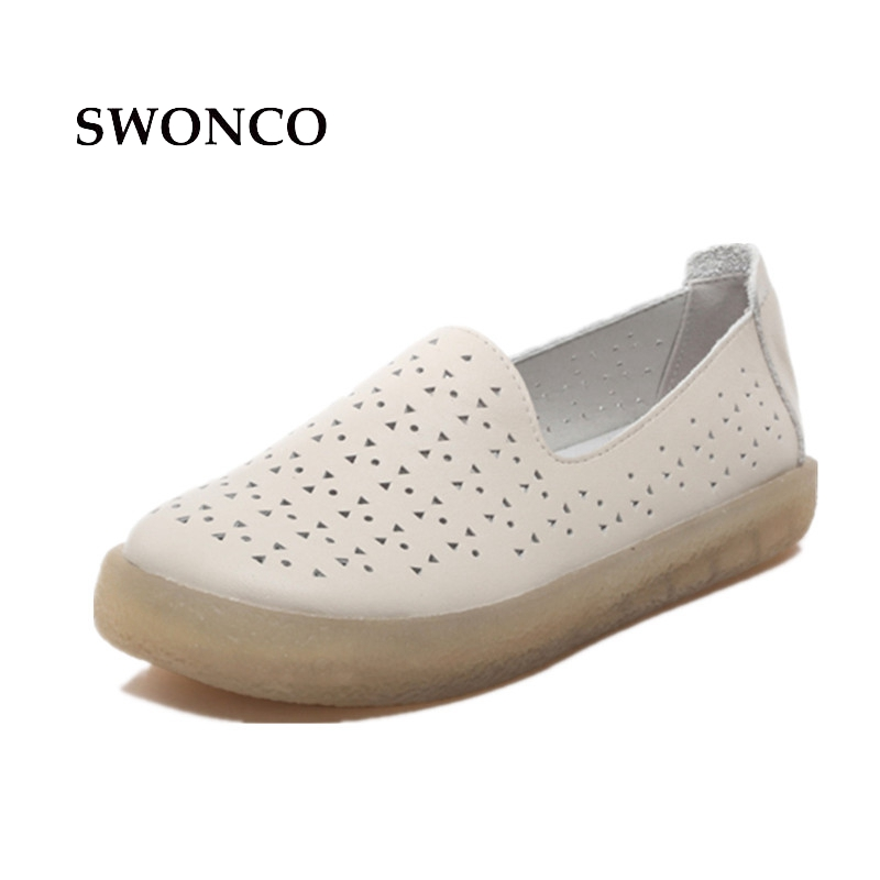 SWONCO Women's Flats Ladies Shoes Genuine Leather Women Loafers Hollow Out Female Shoe Ladies Shoes Flat Casual Women Shoe nis women air mesh shoes pink black red blue white flat casual shoe breathable hollow out flats ladies soft light zapatillas