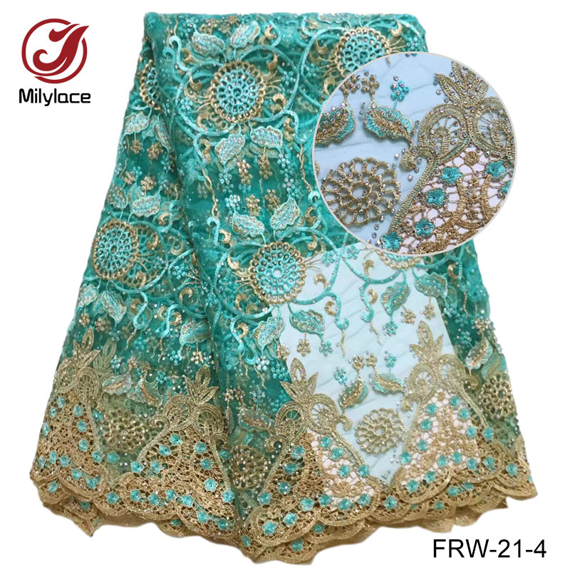 African lace fabric Green african voile french lace fabric with rhinestone 5 yards per lot wedding