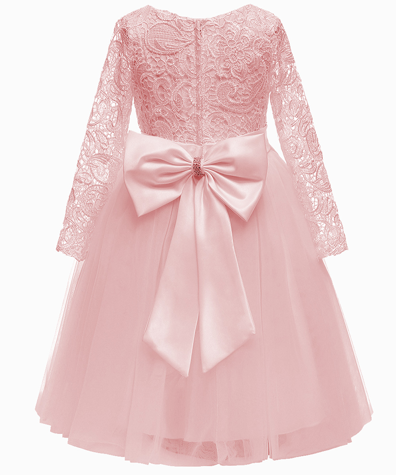 Long Sleeves Pink Lace Kids Bridesmaid Dress Baby Girl Flower Party Princess Dress Children Kids Clothes 2-13Year For Weddings