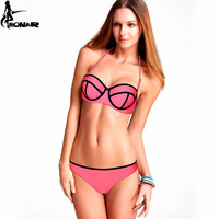 Sexy Women Triangle Swimwear Bikini Removable Bandage Swimsuit Hight Grade Nylon Bikini Push Up Bathing