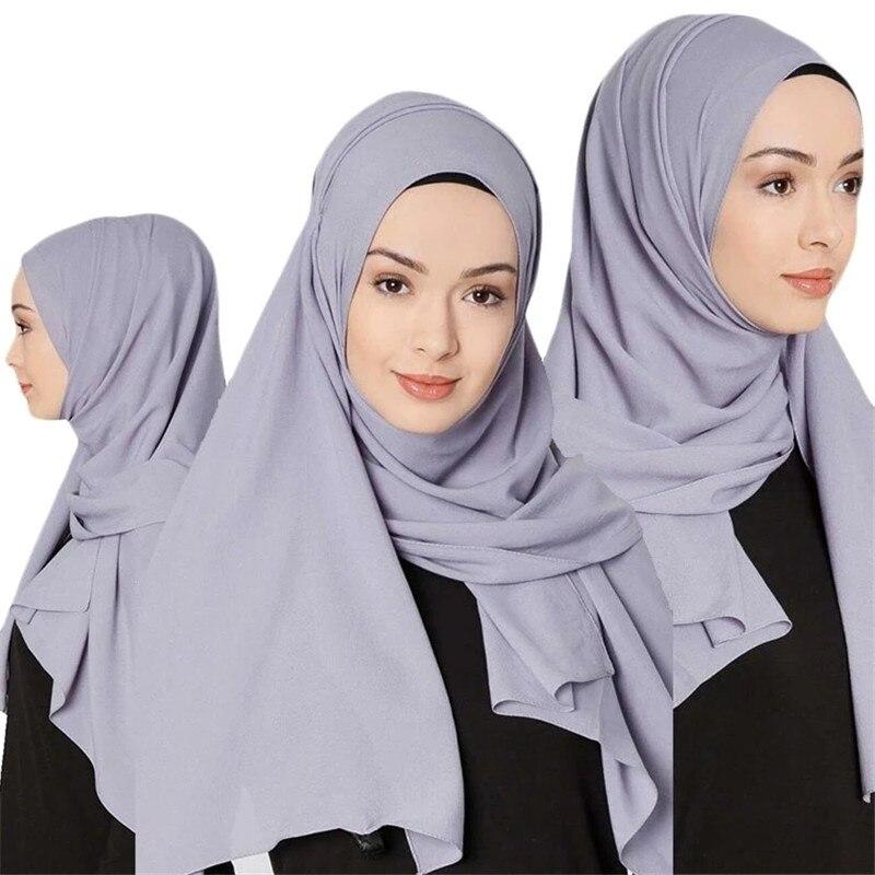 2019 Muslim Women Hijab Scarf Soft Solid Chiffon Islamic Foulard Femme Musulman Hijabs Shawls And Wraps Headscarf Hoofddoek