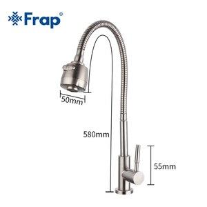 Image 2 - Frap 304 ステンレス鋼の台所の蛇口シングルハンドル単穴台所ミキサーシンクタップキッチン単一のコールド水栓 Y40529