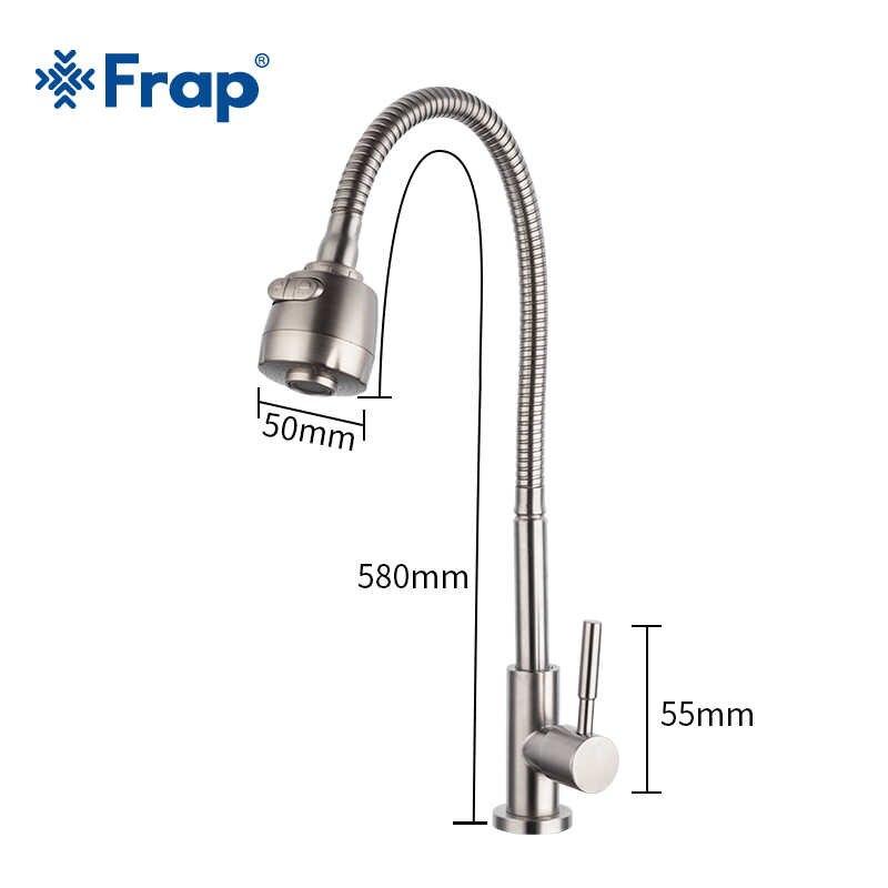 Frap 304 ステンレス鋼の台所の蛇口シングルハンドル単穴台所ミキサーシンクタップキッチン単一のコールド水栓 Y40529
