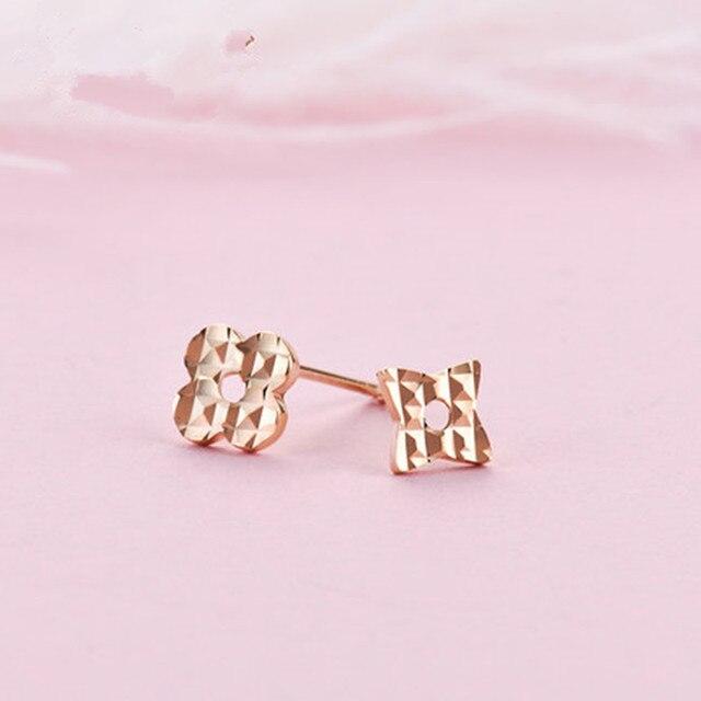 VOJEFEN 18K Rose Gold Star and Flower Stud Earrings for Women and Men Gold Asymmetry Earrings Flower Star CZ Small Earrings 4