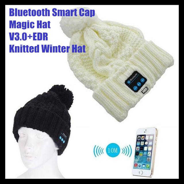Sem fio Bluetooth V3.0 inteligente de lã Knit Beanie inverno chapéu esporte fone de ouvido fone de ouvido mãos livres música tampão mágico, Mp3 Speaker Mic