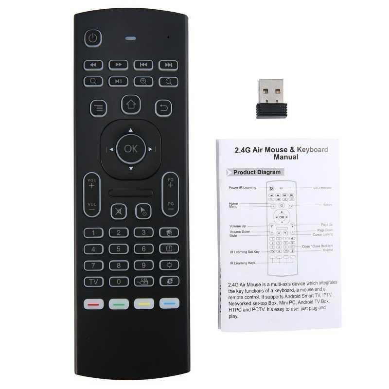 MX3 MX3-L Backlit Chuột T3 Âm Thông Minh Điều Khiển Từ Xa 2.4G RF Bàn Phím Không Dây Cho X96 Mini KM9 A95X h96 Max Android TV Box