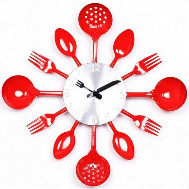 2017 Promotion Digital Wall Clock Fork Spoon Kitchen The Decor Modern Quartz Metal Mute Sale Rushed Special Offer Freeshippi