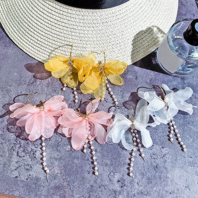Boho Chiffon Flower Tassel Long Drop Earrings For Women White Yellow Pink 2019 New Pendientes Beach Holiday Party Jewelry