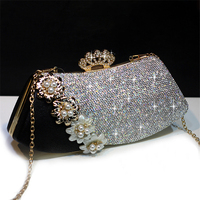 Luxury Handbag Crystal Clutch Women Bridal Wedding Shoulder Bag Floral Genuine Leather Rhinestone Purse Chain Evening Party Bags