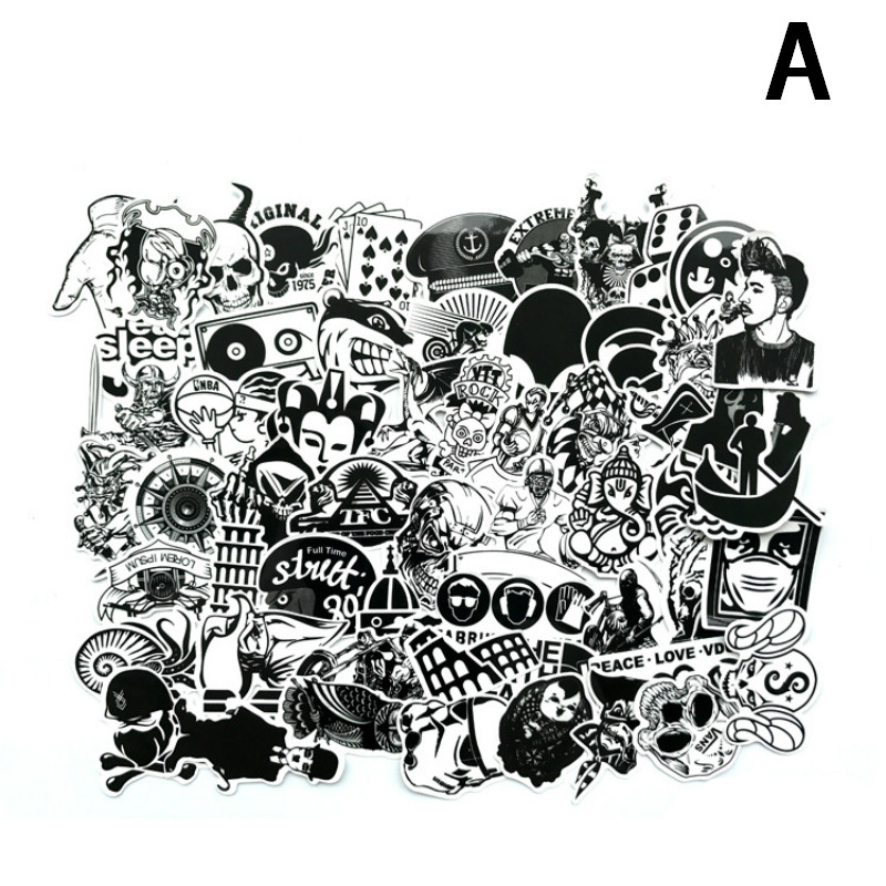 Image 2 - 60Pcs/Lot Black and White Mix Stickers For Laptop Moto/Car Cool Sticker Graffiti Bomb Decals Stickers Skateboard Luggage 2019-in Laptop Skins from Computer & Office