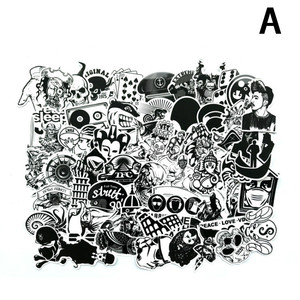 Image 2 - 60Pcs/Lot Black and White Mix Stickers For Laptop Moto/Car Cool Sticker Graffiti Bomb Decals Stickers Skateboard Luggage 2019