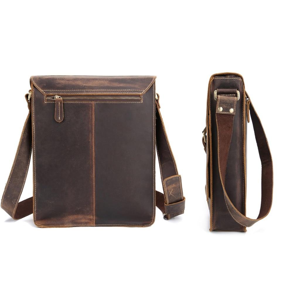 0aac90070e Men s genuine leather messenger bag A4 Hard crazy horse leather shoulder bag  Vintage briefcase Vertical iPad casual bag on Aliexpress.com