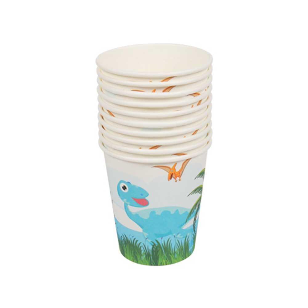 10 ชิ้น/ล็อต Jungle Theme PARTY กระดาษไดโนเสาร์ถ้วยเด็กตกแต่ง Happy Birthday PARTY Favor ถ้วยดื่ม Disposable Tableware