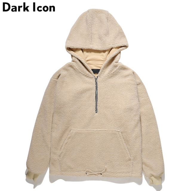 515a9fb0 DARK ICON Half Front Zipper Sherpa Hoodie Men 2017 Winter Streetwear  Pullover Men's Hoodie Black Camel