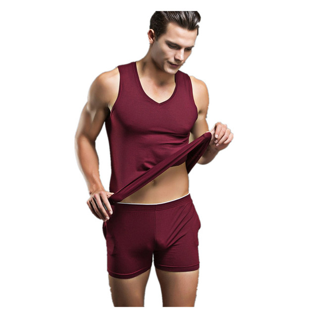 Mens del verano Sexy ropa de Dormir ropa de Dormir de Algodón de Los Hombres de la Marca 2017 de la Ropa Interior Del Tanque Camisetas Interiores de Los Hombres Ocasionales Pijama Pijamas Para Hombre