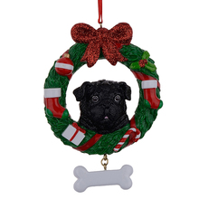 Black Pug Resin Shiny Christmas Ornaments with Wreath Hand Painted and Easily Personalized as for Owners gifts or home decor