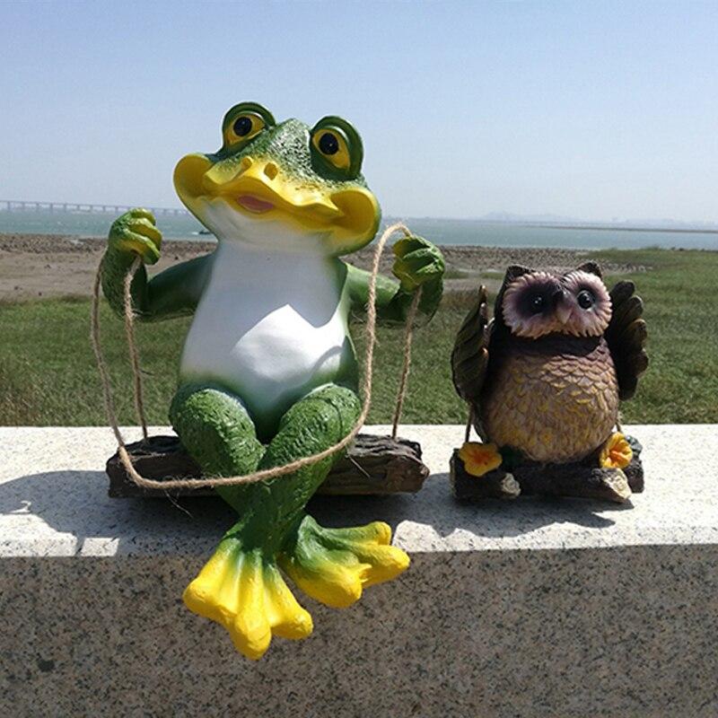 Garden Decoration Courtyard Landscape Cute Resin Animals Pastoral Pendant Simulation Frog Owl Sculpture Crafts Decor