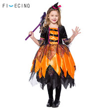 Girls Halloween Costume Witch Pumpkin Cosplay Dress Black magic Child Fancy Carnival Party School Stage Performance Clothing цена 2017