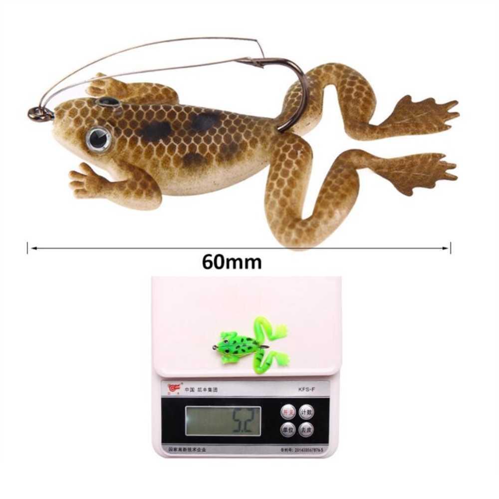 1 pz/lotto 6 cm/5.2g di Pesca di Richiamo di Pesca Artificiale In Silicone Pesca Esca di Richiamo Rana con Gancio Morbido di Pesca rana Esche attrezzatura da pesca