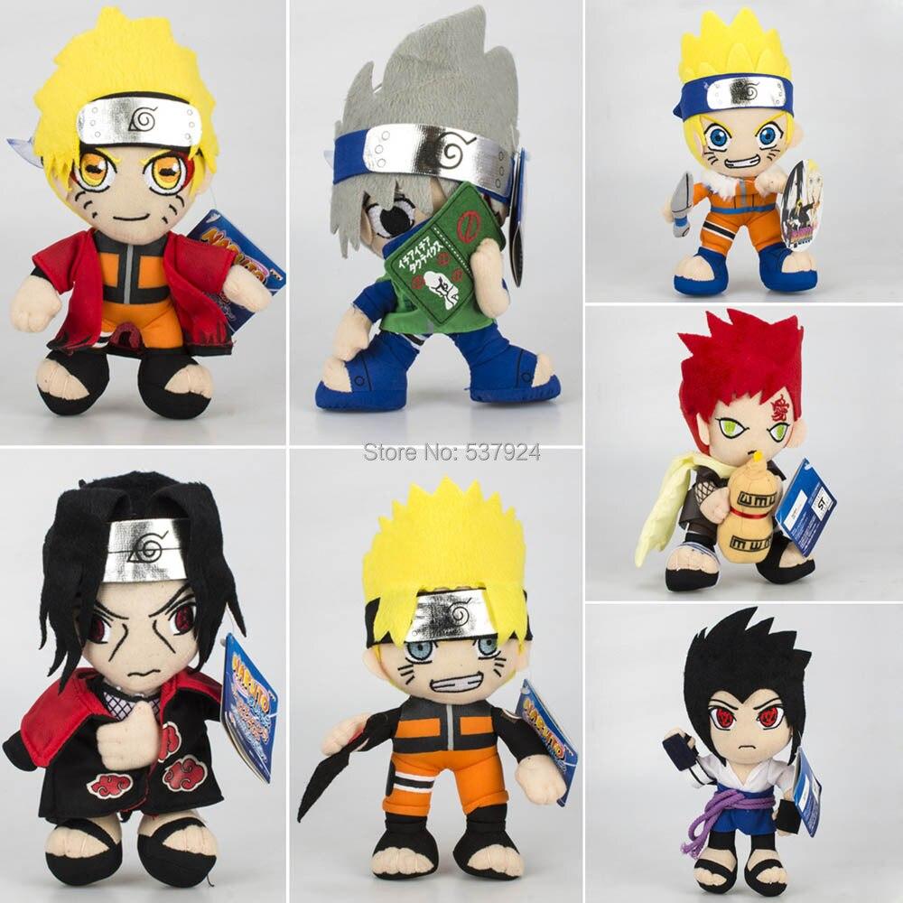 New 10PCS Naruto Uzumaki Naruto Uchiha Sasuke Itachi Hatake Kakashi Gaara 8 20CM Plush Doll Pendant