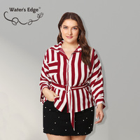 Water's Edge Plus Size Women Blouse Casual Summer 2018 Big Size Lady Shirts Red Striped Pattern ALL match Female Clothes 3Xl 4XL