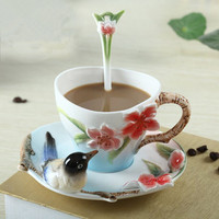 2018 Newest Creative Ceramic Coffee Cups With Saucer Tea Milk Cup Set with spoon Birds Drinkware Z0051