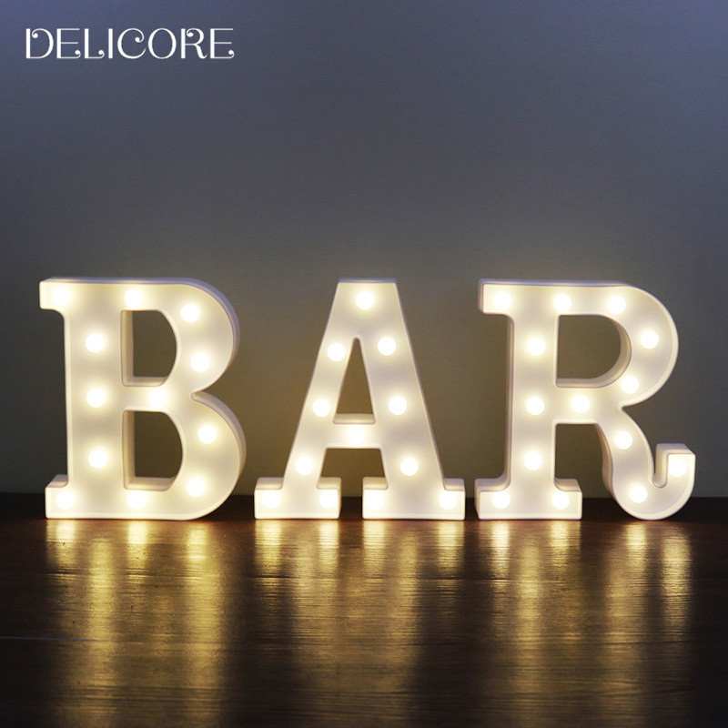 DELICORE Best LED Night Light Lamp Kids Marquee White Letter BAR Light Vintage Style Light Up Christmas Lamp Decor S025-BAR metal bar led marquee sign light up vintage signs light bar indoor deration