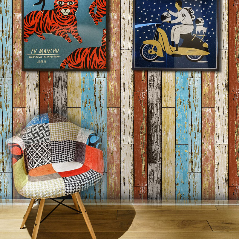 Retro Vintage Strips Wallpaper Living Room Art studio Wallpaper Roll Hotel Cafe TV Backdrop Rustic Wind Non-woven Wallpaper book knowledge power channel creative 3d large mural wallpaper 3d bedroom living room tv backdrop painting wallpaper