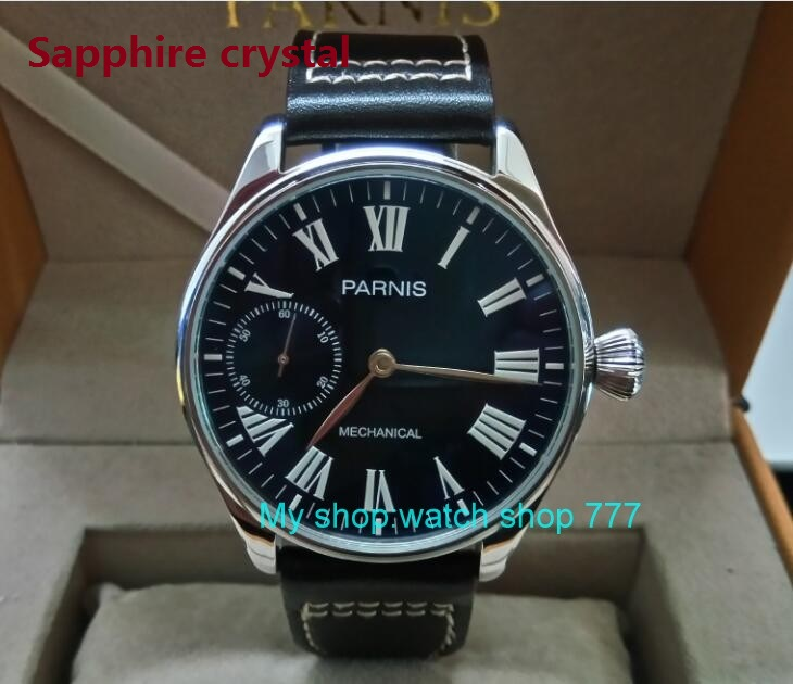 Sapphire crystal 44mm PARNIS Blue dial Asian 6497 Mechanical Hand Wind movement Mechanical watches Luminous mens watches 223ASapphire crystal 44mm PARNIS Blue dial Asian 6497 Mechanical Hand Wind movement Mechanical watches Luminous mens watches 223A