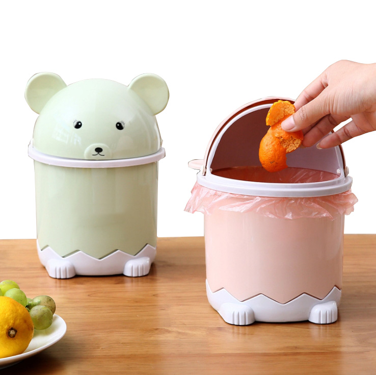 Table Trash Can Waste Bins Plastic Cute Cartoon Office Home Room Garbage Bin With Lid Cover Dustproof Desk Dustbin Container