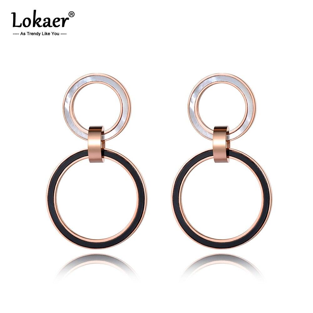 Lokaer White Shell & Black Acrylic Double Circle Stainless Steel Stud Earrings Rose Gold Handmade Ear Jewelry For Women E19011