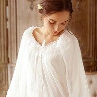 2018 New LANIAOXIA 039# Women's Nightwear Cotton Long Nightgown White/Purple Sleepshirts Princess Pyjamas flare sleeve Sleepwear
