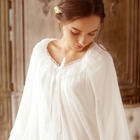 2018 New LANIAOXIA 039# Women's Nightwear Cotton Long Nightgown White/Purple Sleepshirts Princess Pyjamas flare sleeve Sleepwear