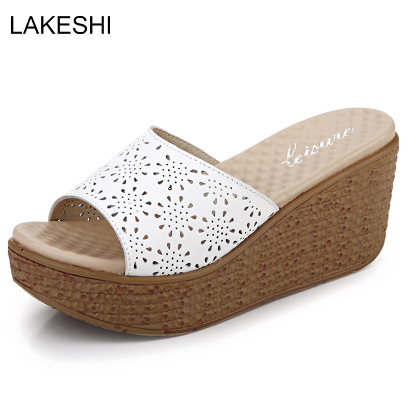 Ladies Casual Hollow Out Shoes Women Beach Sandals Flip Flops Shoes Slippers
