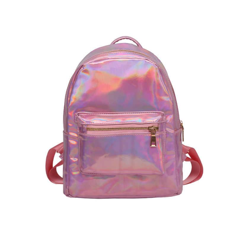 LUYO серебряный розовый маленький лазерный рюкзак кожа голографические рюкзаки блестящие для женщин школьные ранцы для подростков обувь девочек Mochila Feminina